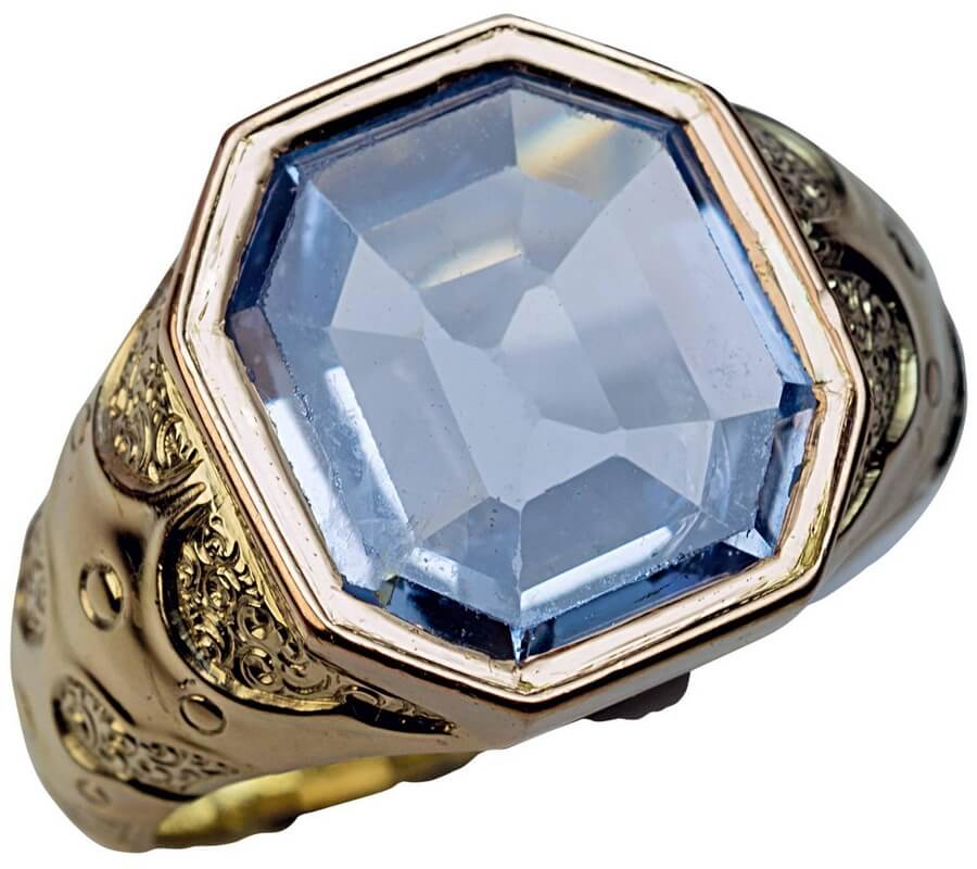 1870s Antique Russian Sapphire Gold Men's Ring - best unique gift for dad