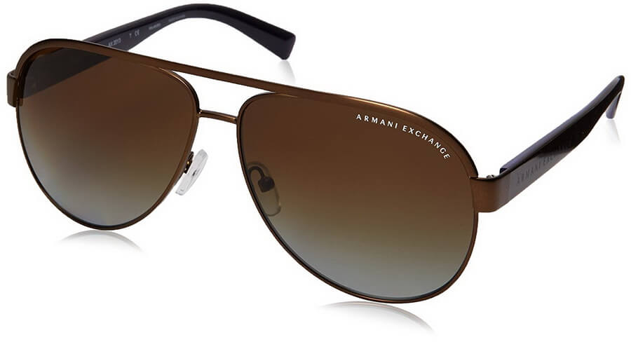 Armani Exchange Mens Metal Sunglasses - Aviator Shape Full Rim Sunglasses