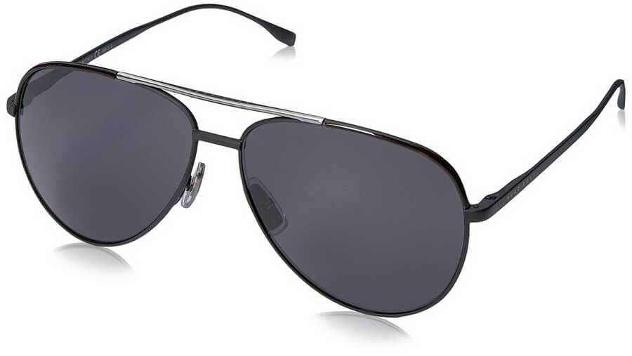 Hugo Boss Men's Aviator Sunglasses - Ruthenium Frame with Smoke Polarized Lenses