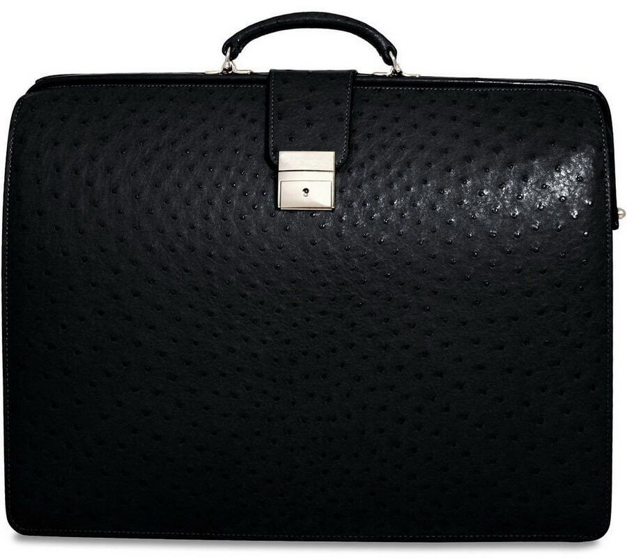 Jack Georges Genuine Ostrich Classic Leather Briefbag - best gift for workaholic dad