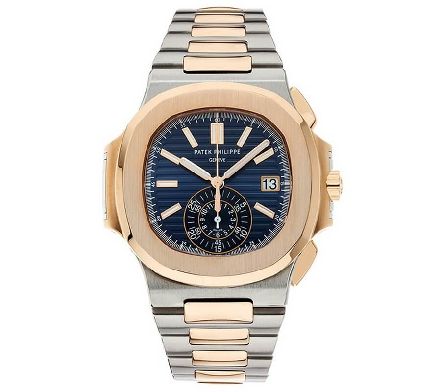 Patek Philippe Nautilus Stainless Steel & Rose Gold Watch Blue Dial - best gift for watch loving dad