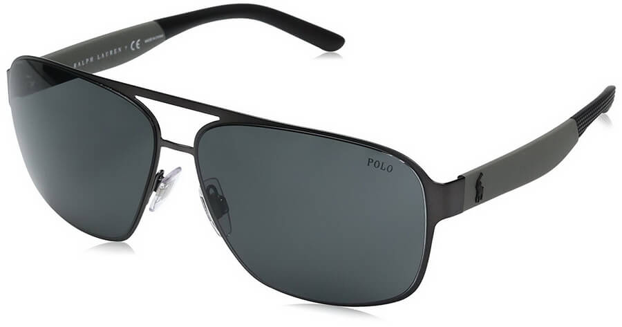 Polo Men's Sunglasses with Resilient Metal Square Frame and Dark-coloured Polycarbonate Lenses