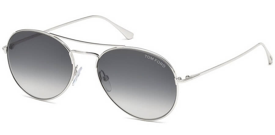 Tom Ford ACE Sunglasses - Shiny Rhodium Frame with Gradient Smoke Lenses