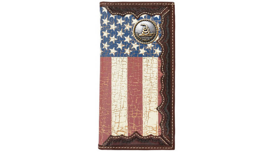 American Flag Long Wallet with a Distressed United States Flag