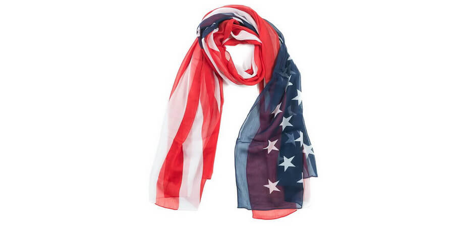 Patriotic Soft Sheer Crinkle Chiffon Wrap Scarf