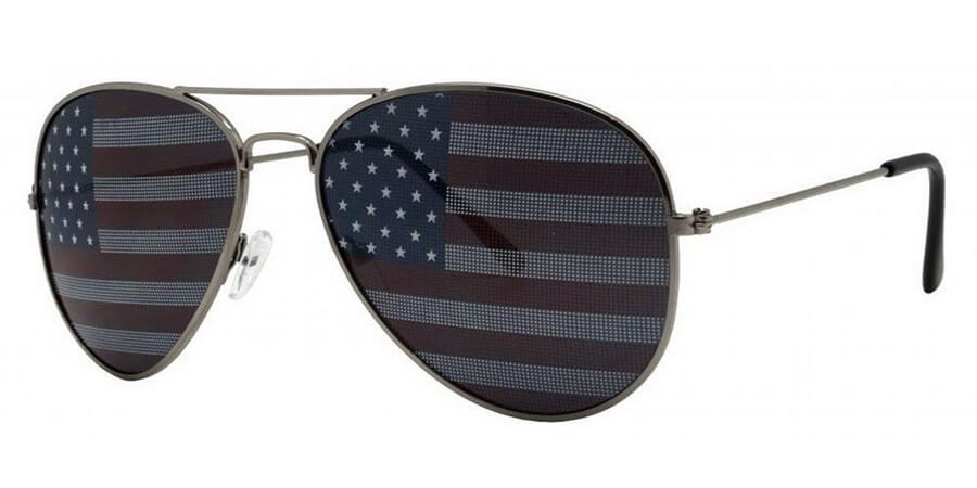 Retro Vintage Aviator Sunglasses with Patriotic USA Flag Lens