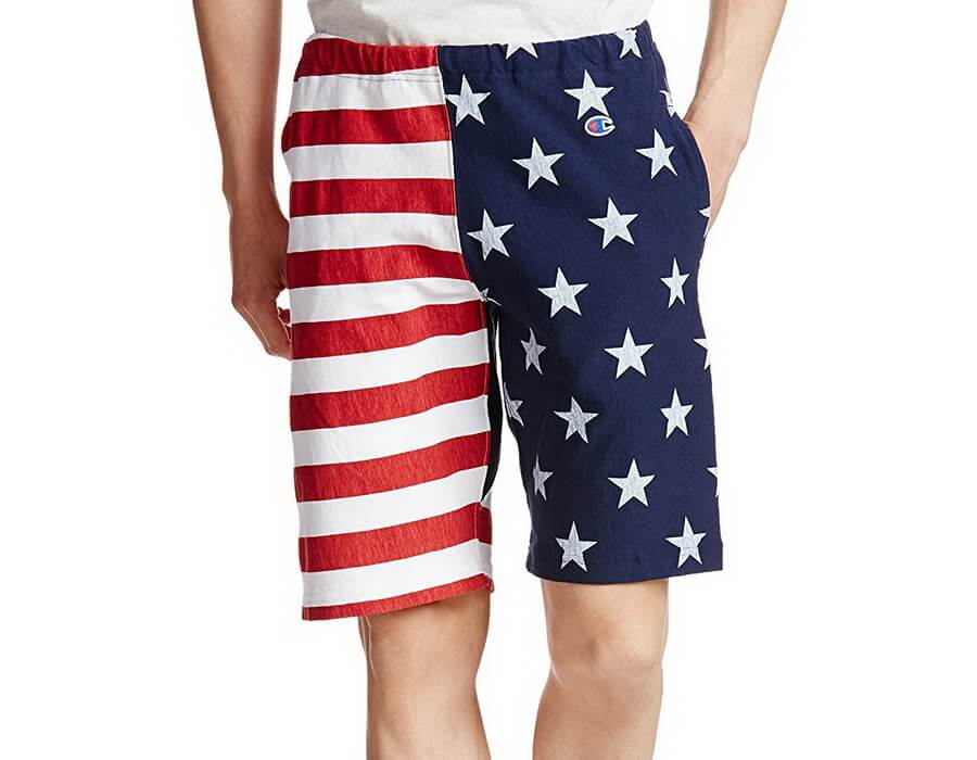 Champion Mens American Flag Print Jersey Shorts