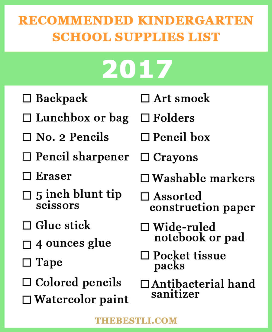 Kindergarten school supplies checklist