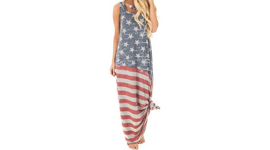 Vintage American Flag Print Patriotic Strapless Sleevess Tank Maxi Dress