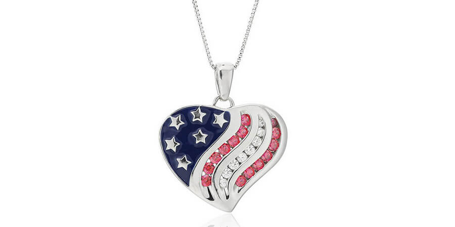 Swarovski Heart Pendant Necklace With Motifs Of The American Flag